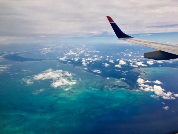 Airplane over bahamas